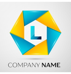 Letter l logo symbol in the colorful circle on vector