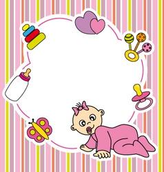 Frame baby girl vector