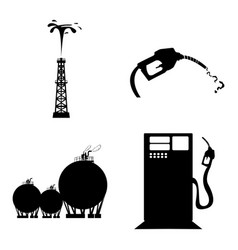 Set of oil related objects vector