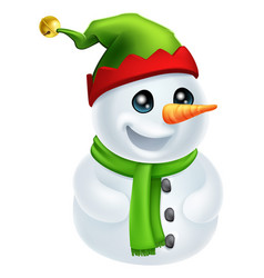 christmas snowman in elf hat vector image
