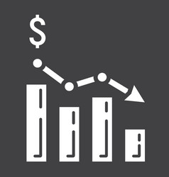 declining graph glyph icon business and finance vector image