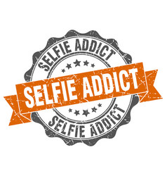 Selfie addict stamp sign seal vector