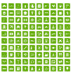 100 activity icons set grunge green vector