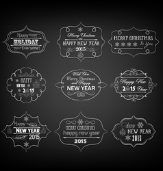 Set of vintage retro christmas and happy new year vector