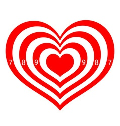 Target in the form of red hearts vector