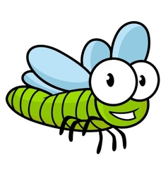Cute little kids cartoon flying dragonfly vector