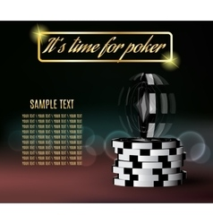 Poker chips with a twisting chip on blurred vector image