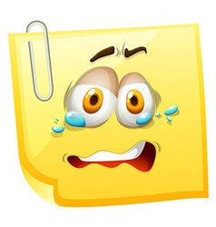 Crying face on yellow paper vector