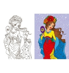 Colouring book of girl with mirror vector