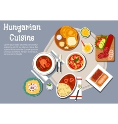 National hungarian cuisine dishes set vector