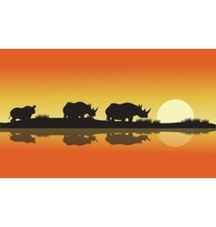 Silhouette of a rhinoceros africa hill vector