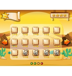 Game template with desert background vector image