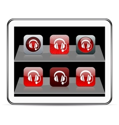 Call center red app icons vector image