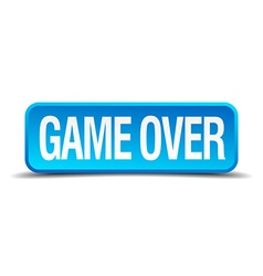 Game over blue 3d realistic square isolated button vector