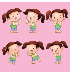 Cute children girl actions set vector