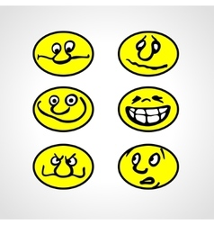 Set of cartoon smilies vector