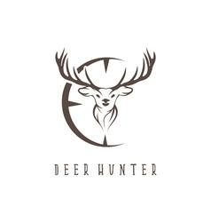 Deer head with target design template vector