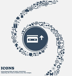 audio cassette icon sign in the center Around the vector image vector image