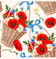 Basket with flowers seamless vector