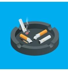 Black ceramic ashtray full of smokes cigarettes vector