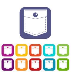 Black pocket symbol icons set flat vector