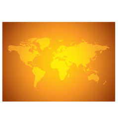 Bright orange background with yellow world map vector