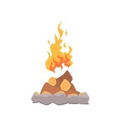 campfire bonfire surrounded by stones cartoon vector image vector image