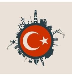 Cargo port relative silhouettes turkey flag vector