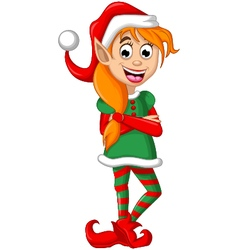 Christmas elf posing vector