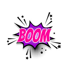 Comic text boom speech bubble pop art vector
