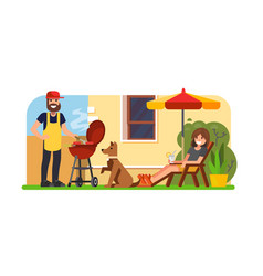 Couple having a bbq on backyard vector