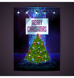 Disco background Merry Christmas poster vector image
