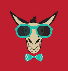 donkey wearing blue glasses vector image