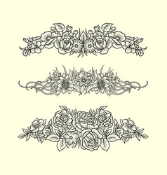 Flower and leaves ornament decoration sketches vector