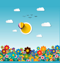 flowers on field flat design vector image vector image