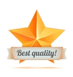 Golden 3d star with a ribbon Best quality The vector image vector image