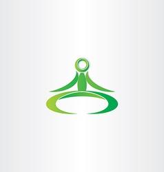 Green yoga man icon vector