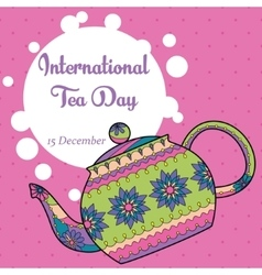 International tea day background with colorful vector