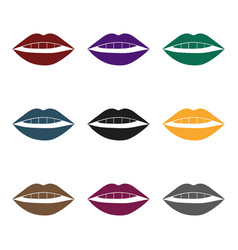 Lips icon in black style isolated on white vector