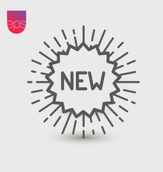 New simple icon emblem isolated on grey backgroun vector