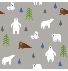 Polar animals on a gray background seamless vector