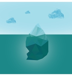Polygonal iceberg glacier landscape with clouds vector