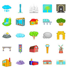 Scene icons set cartoon style vector
