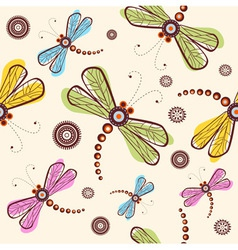 Seamless pattern with dragonfly and flower vector