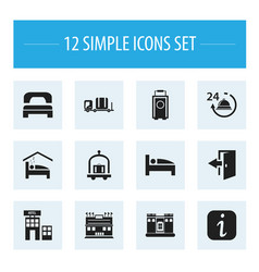 Set of 12 editable plaza icons includes symbols vector