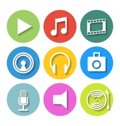 Set of Flat Media Icons vector image vector image