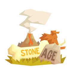 Stone age elements volcanic eruption mammoth vector