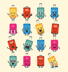 travel luggage character emoji set vector image vector image