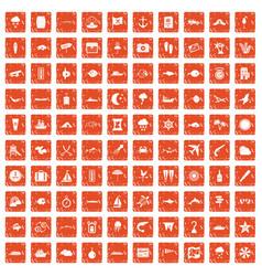 100 marine environment icons set grunge orange vector