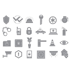 Security system gray icons set vector